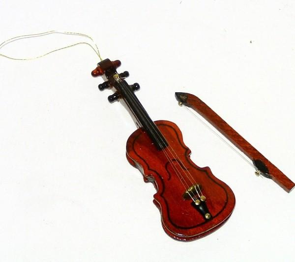 Deko Musikinstrument Miniatur Holz Geige 10cm x 3,5cm