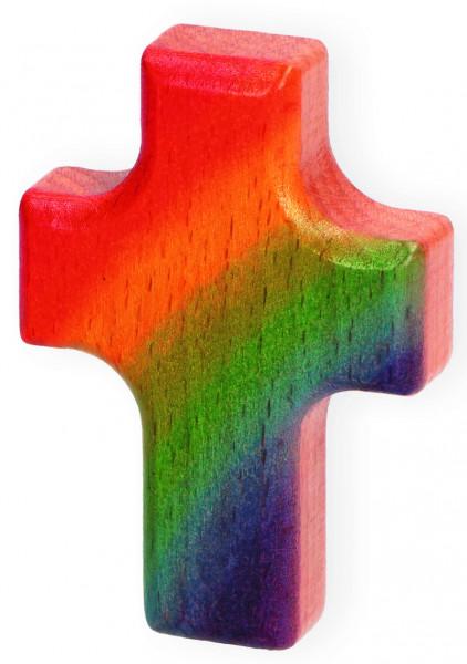 Handschmeichlerkreuz Holz - Regenbogen