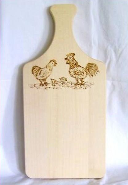 Brotzeitbrett Holz mit Griff 16x34cm Brandmalerei Hahn u. Henne