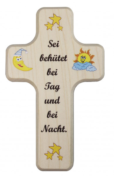 Kinderkreuz Holz natur, Motiv Sei behütet bei Tag..10 x 6cm