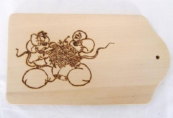 Frühstücksbrettchen, kleines Schneidebrett 13x23cm Mäusepaar