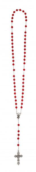 Rosenkranz lang - mit Glasperlen rot, gekettelt