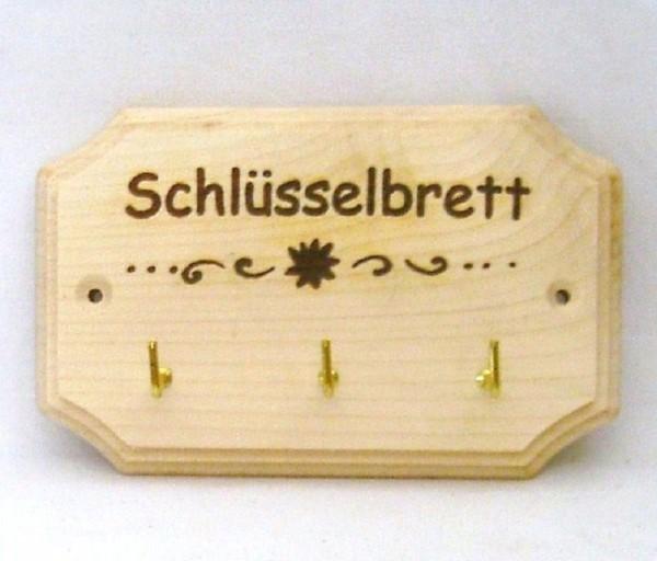 Schlüsselbrett mit 3 Haken Schlüsselleiste Holz, Landhausdeko