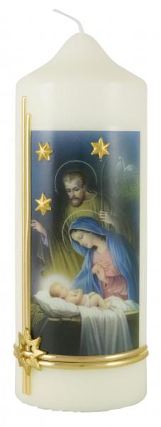 Weihnachtskerze, Kerze mit Hl. Familie, Sterne gold