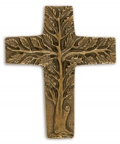 Kreuz aus Bronze - Lebensbaum 9 x 7,5cm