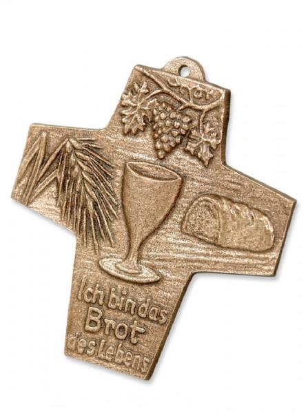 Kreuz aus Bronze - mit Motiv, Ich bin das Brot