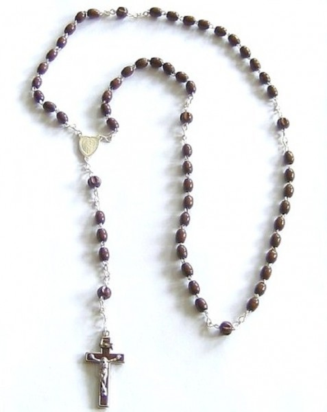 Rosenkranz gekettelt, mit Holzperlen dunkelbraun, Devotionalien