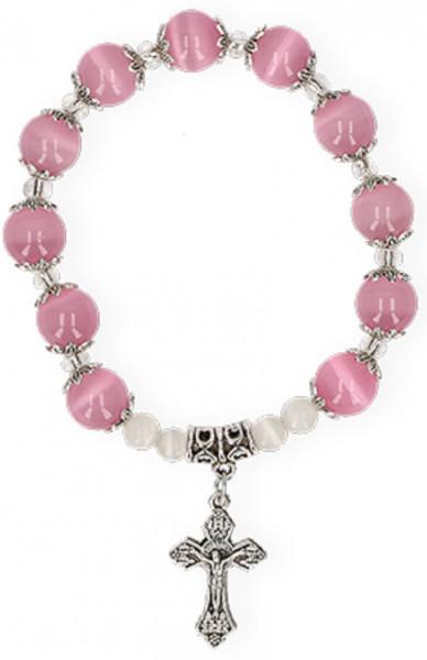 Armband mit rosa Glasperlen und Metallkreuz