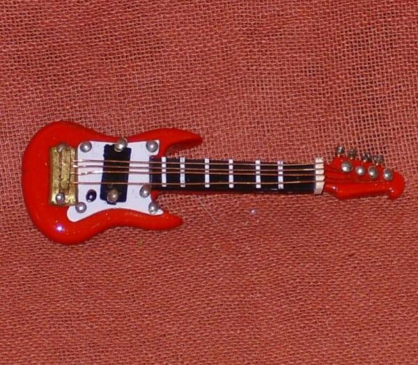 Miniatur E-Bassgitarre rot, 6cm