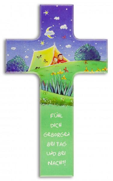 Kinderkreuz Holz, Motiv Fühl dich geborgen..