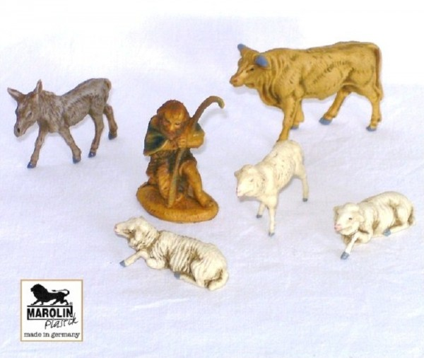 Tiergruppe mit Schäfer 6-tlg. 7cm Marolin Plastik Figuren
