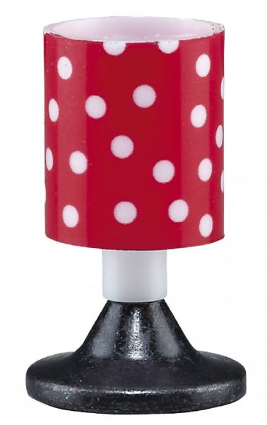 Puppenhaus Miniatur Tischlampe 3,5V mit Metallfuß mit Kunststoffschirm rot-Punkte