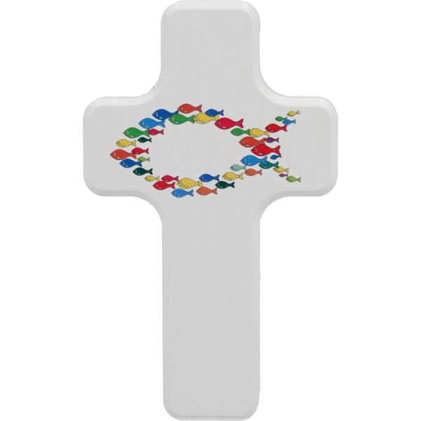 Kinderkreuz Holz, weiß, Motiv Die Welt ist bunt 10 x 6cm