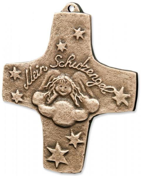 Kreuz aus Bronze - Schutzengel 9cm