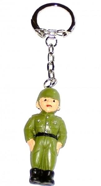 Schlüsselanhänger mit Sammelfigur Soldat aus Plastik