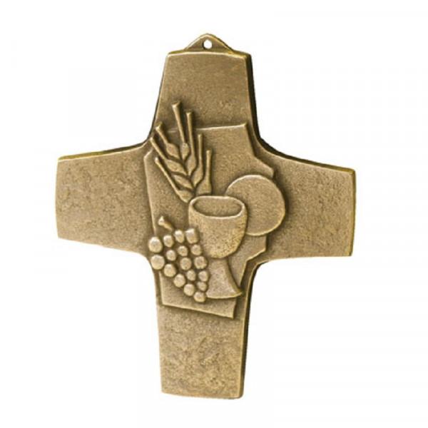 Kreuz aus Bronze - Schmuckkreuz mit Brot u. Wein