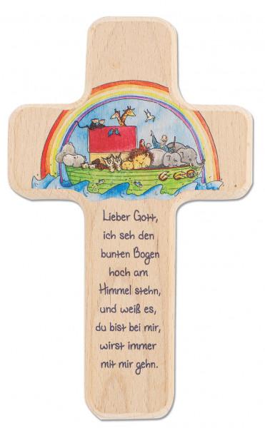 Kinderholzkreuz - Kreuz Arche Noah mit Regenbogen