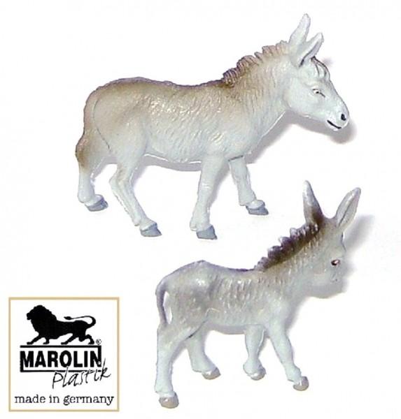 Hausesel mit Fohlen 2-tlg. Set Marolin Plastik Figuren