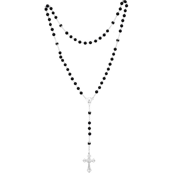 Rosenkranz lang - Onyx schwarz, gekettelt