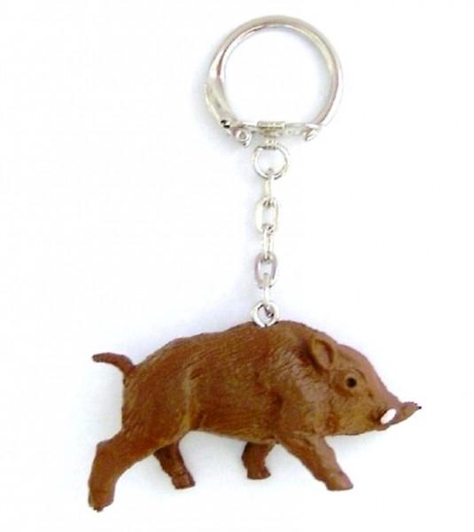 Schlüsselanhänger mit Wildschwein aus Plastik