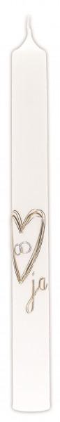Hochzeitskerze Wachsmotiv Herz-Ringe Silber-Gold