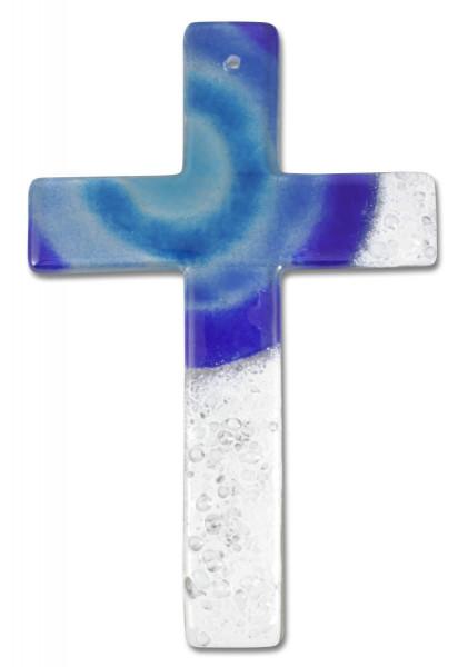 Glaskreuz handgearbeitet blau/weiß 20x13x0,5cm
