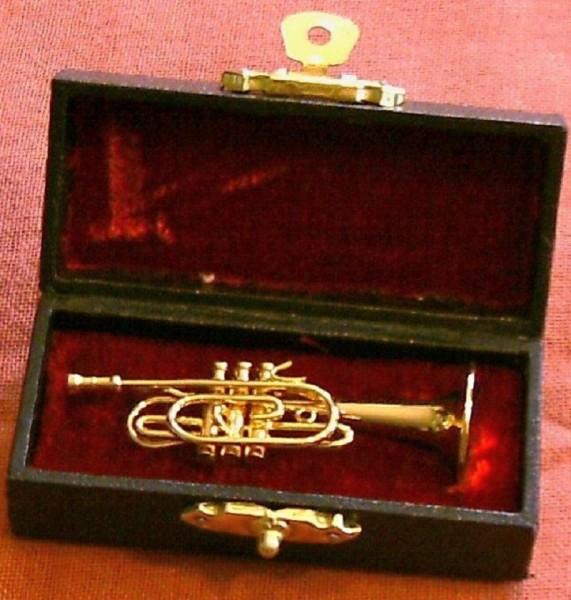 Deko Musikinstrument MIniatur Cornett 6cm, mit Schatulle