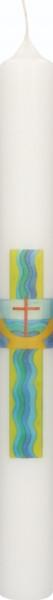Taufkerze Druckmotiv Kreuz, Taufbecken u. Wellen