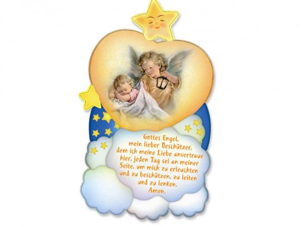 Bild Baby mit Engel mit Gebet 18 x 10,5 cm, 79/269
