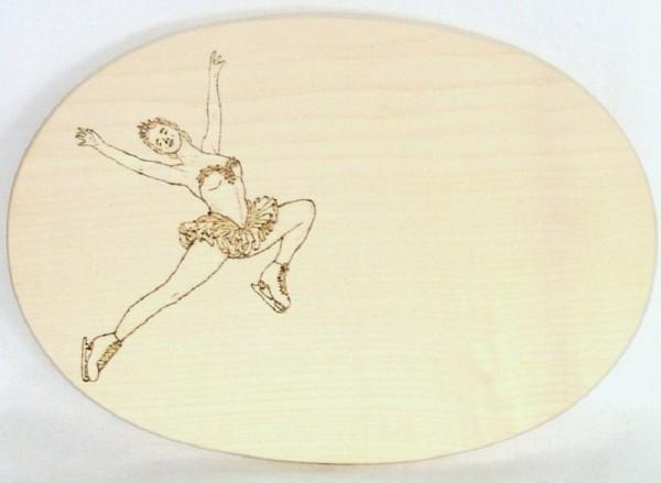 Brotzeitbrett Holz oval 18x26cm Brandmalerei, Eisprinzessin