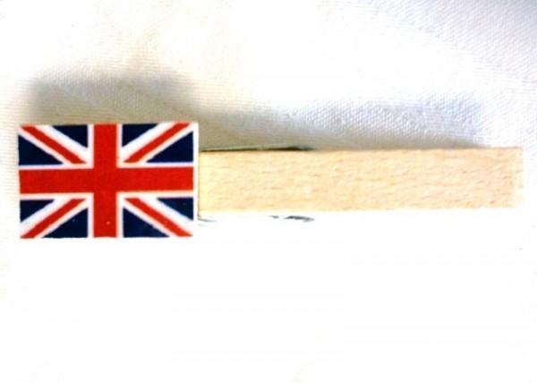 Holzklammer mit Flagge Großbritannien, Holzapplikation