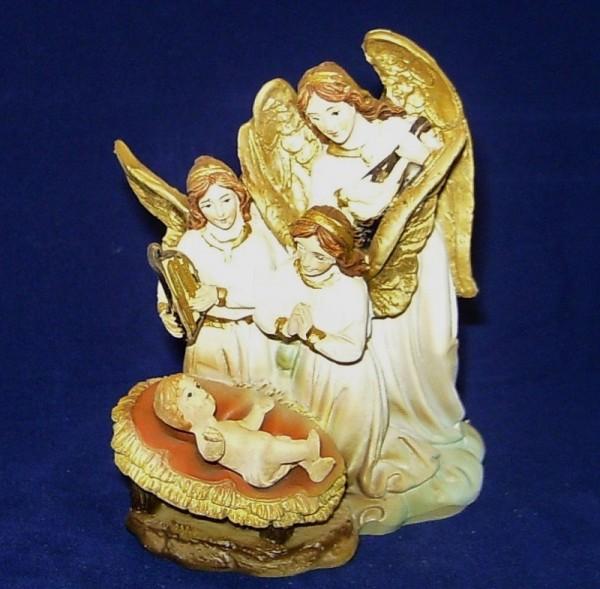 Krippenblock betende Engel 9,4cm Jesukind Polyresin Schutzengel