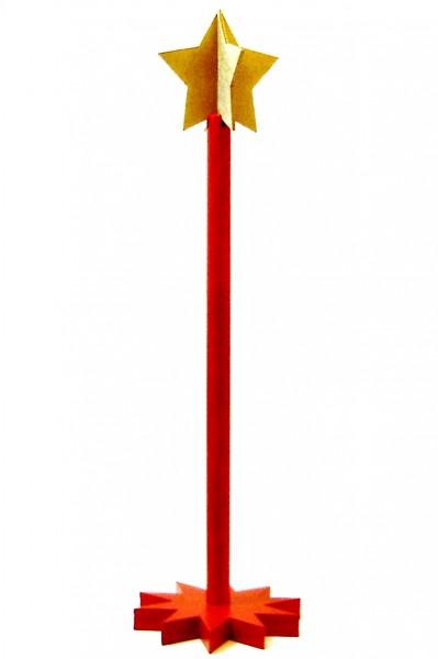 Adventskranzständer rot, 54cm, mit goldenen Stern