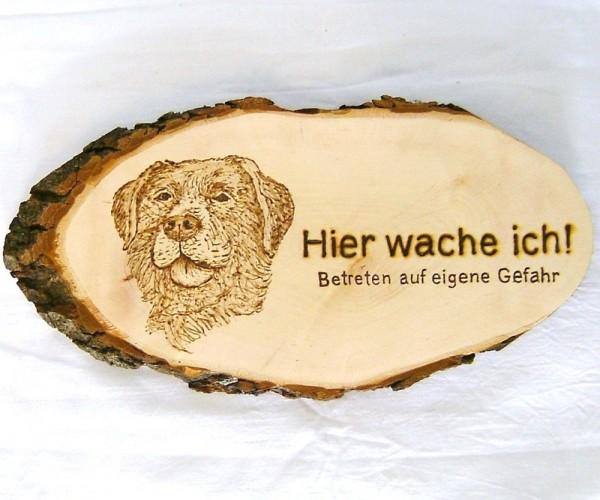 Rindenbrett Erle ca.32x16cm, Deko Holz Schild, Hier wache ich