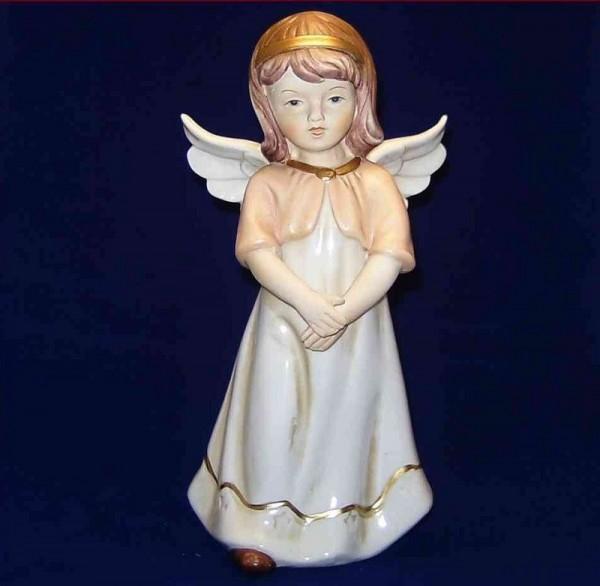 Engel Porzellan andächtig, 24cm stehend rosa-weiß