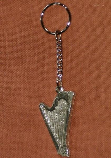 Schlüsselanhänger mit Harfe aus Zinn
