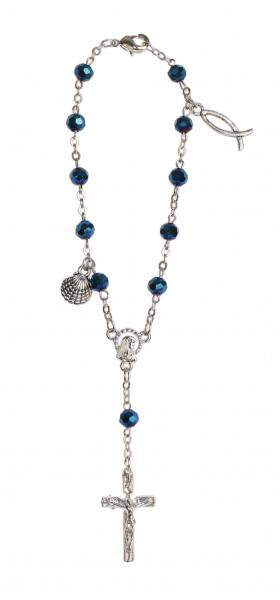 Zehner-Rosenkranz Hämatit blau mit Verschluss