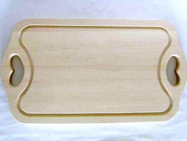 Tranchierbrett; Schneidbrett mit Rille aus Holz 38x21cm