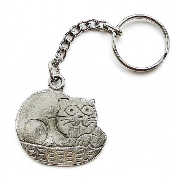 Schlüsselanhänger mit Katze aus Zinn