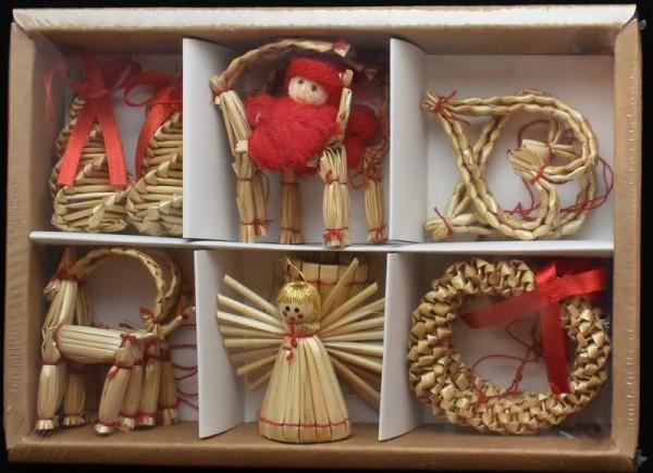 Strohfiguren zum Hängen, Sortiment 12 Teile a. 6cm