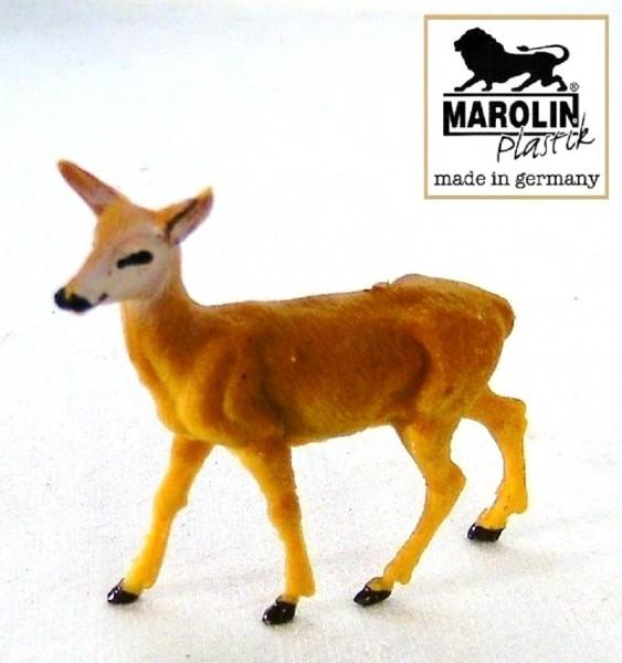 Tierfigur Hirschkuh stehend Marolin Plastik Sammelfigur