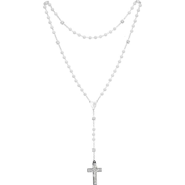 Rosenkranz lang - mit Glasperlen weiß gekettelt