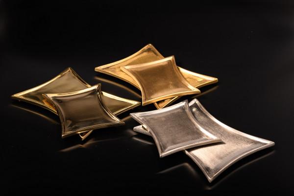 Kerzenteller konkave Form Messing-vernickelt