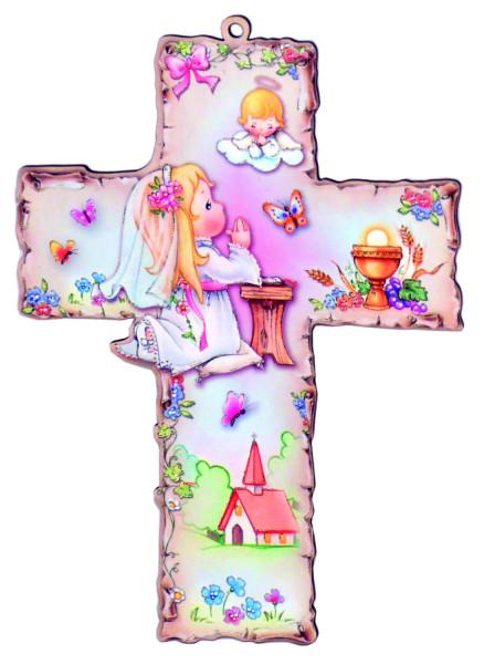 Kinderkreuz zur Kommunion Kunststoff coloriert, Mädchen