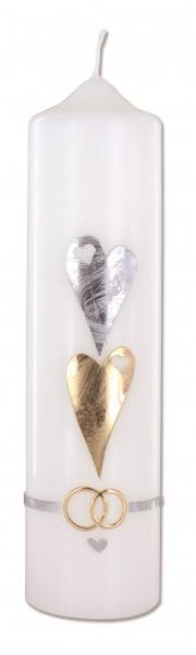 Hochzeitskerze Wachsmotiv Herzen und Ringe
