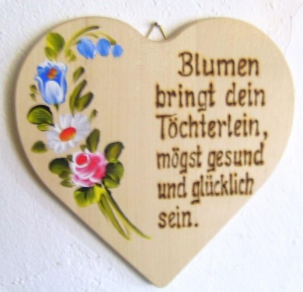 Holzherz 18x18cm Blumen Bauernmalerei u. Brandmalerei Spruch 10