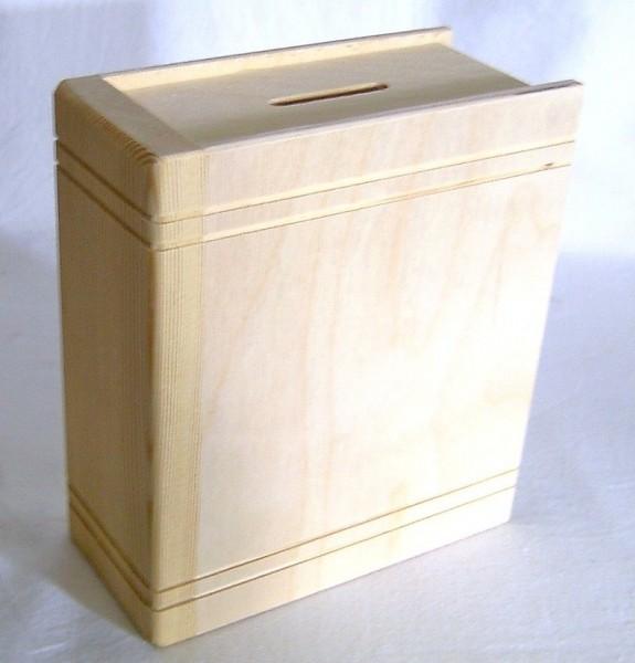 Spardose, Sparbüchse aus Holz mit Schlüssel abschliessbar