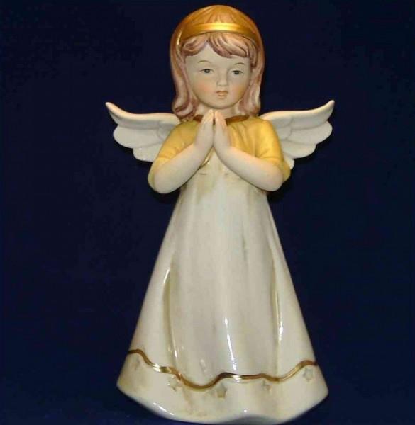 Engel Porzellan betend, 24cm stehend gelb-weiß