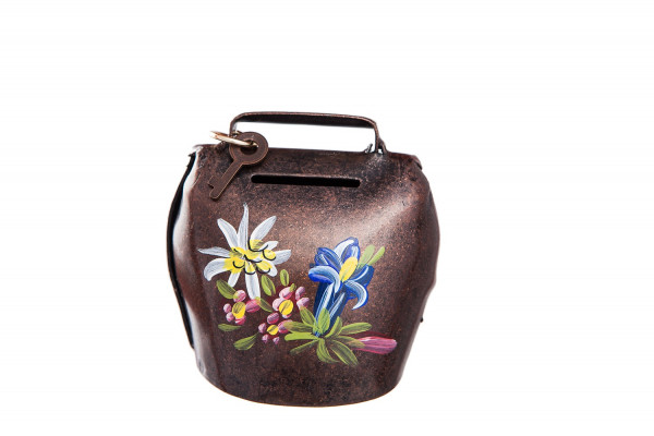 Sparglocke antik vermessingt, bemalt mit Alpenblumen