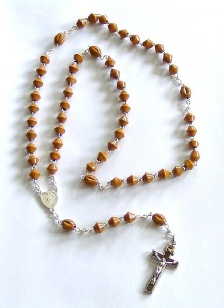 Rosenkranz gekettelt, mit Holzperlen, braun, Devotionalien